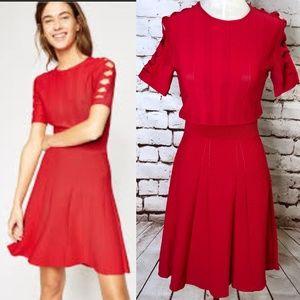 The Kooples Red Knit Dress Open Sleeve Criss Cross